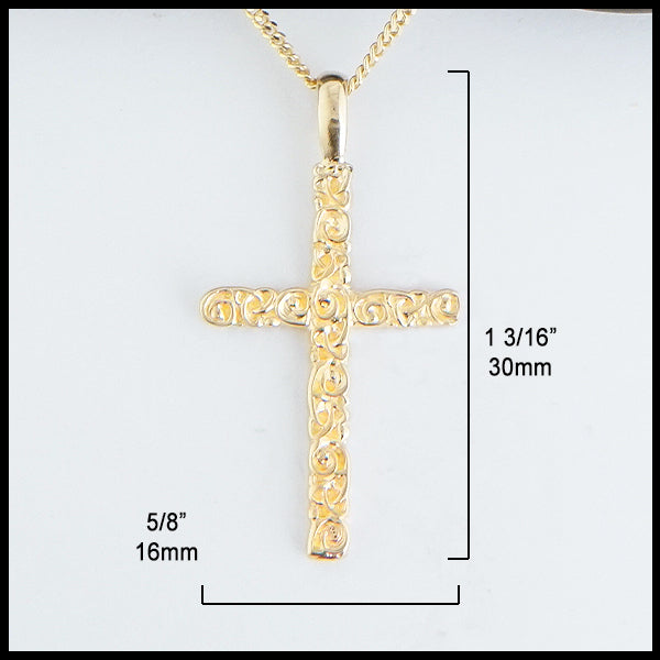 5/8 inch by 1 3/16 inches Trinity Scroll Cross in 14K Gold