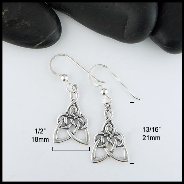 1/2 inch by 13/16 inch Modified Mother's Knot Drop Earrings