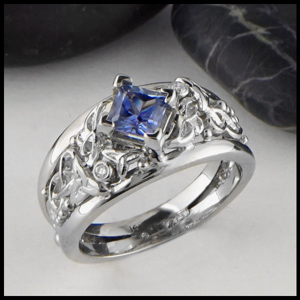 Ceylon Sapphire with Diamonds and Celtic Knots Gold Ring