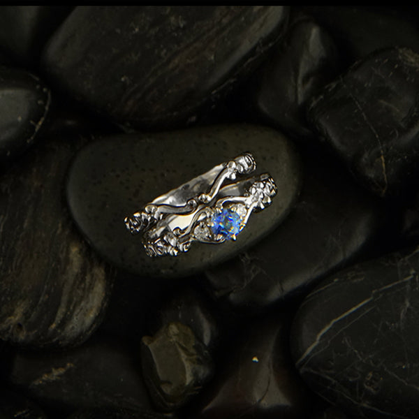 Trinity Scroll diamond and sapphire wedding set