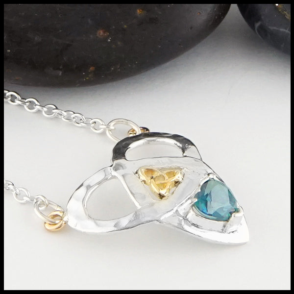 Profile view Trinity Knot and Heart Shaped Evergreen Topaz Necklace