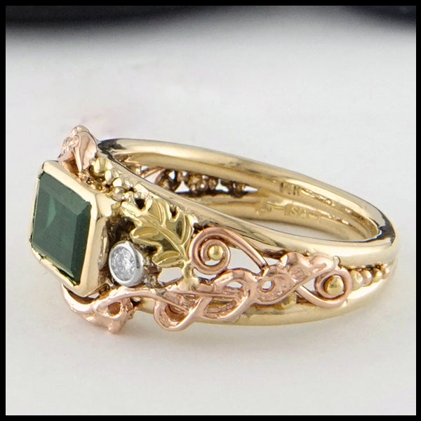 Profile view of Green Tourmaline and Diamond Gold Custom Ring