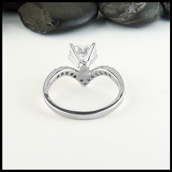 Chevron Heart Diamond Ring