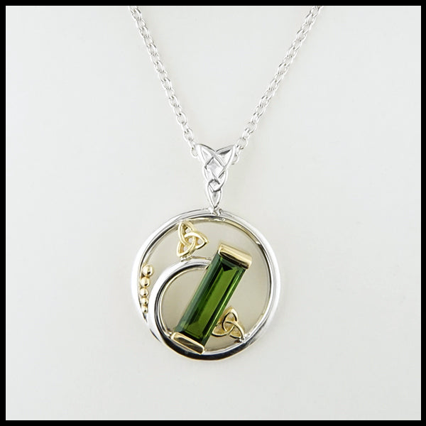 "Tourmaline Baguette Pendant on 18"" cable chain"