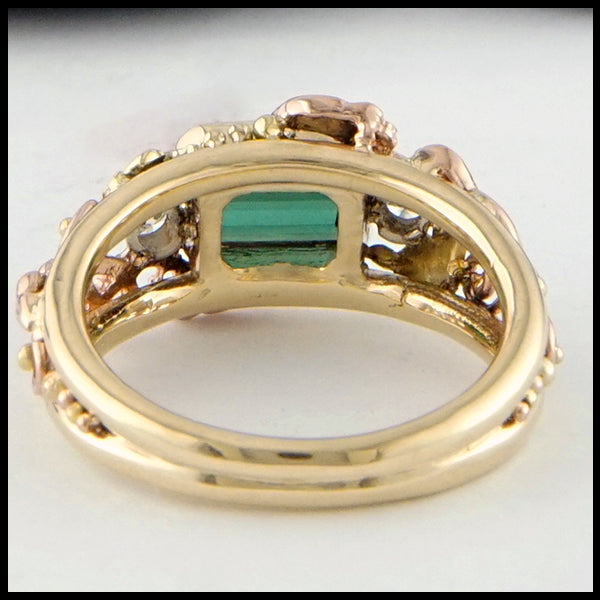 Rear view of Green Tourmaline and Diamond Gold Custom Ring