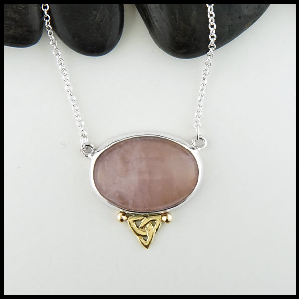Celtic Trinity Knot Rose Quartz Pendant