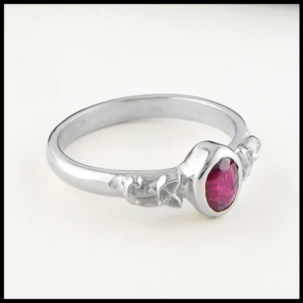 Profile view Celtic Knot Ring with Ruby