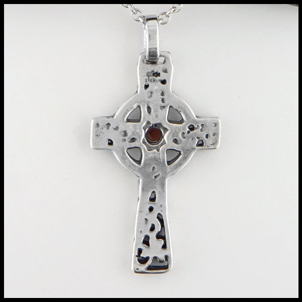 Rear view of Celtic Shamrock Cross with Gemstones