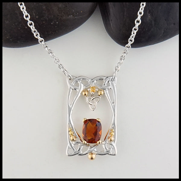 Citrine and Trinity Knot Pendant