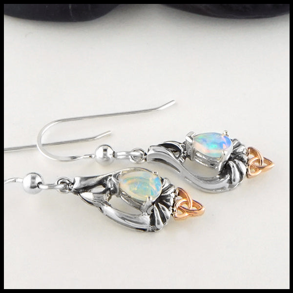 Opal and Trinity Knot Pendant and Earring set