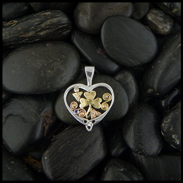 Overhead view of silver heart pendant