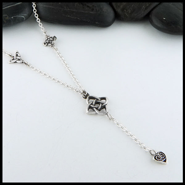 Profile view Starlight Knot Charm Necklace