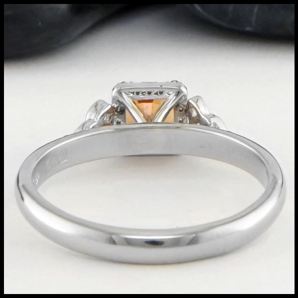 Rear view of Orange Sapphire Gold Ring
