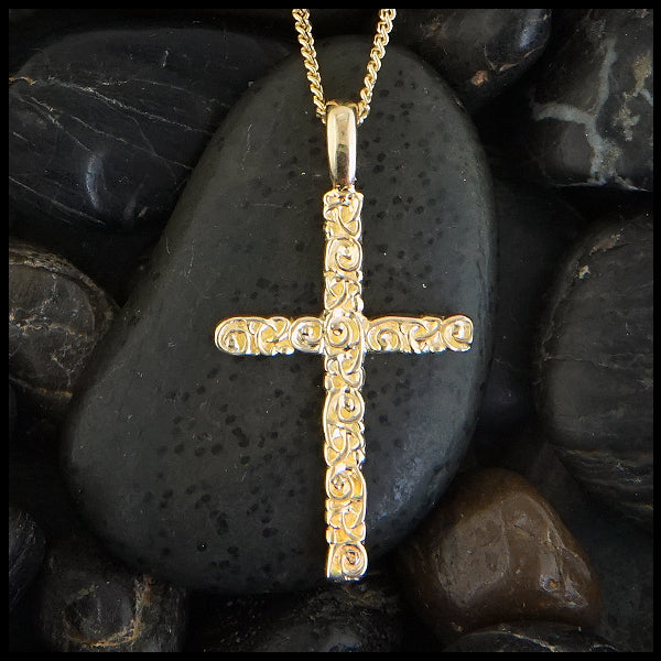 Trinity Scroll Cross in 14K Gold
