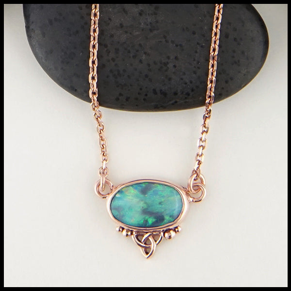 Black opal choker necklace in rose gold