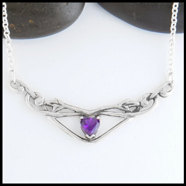 Heart Shaped Amethyst and Ivy Bar Necklace