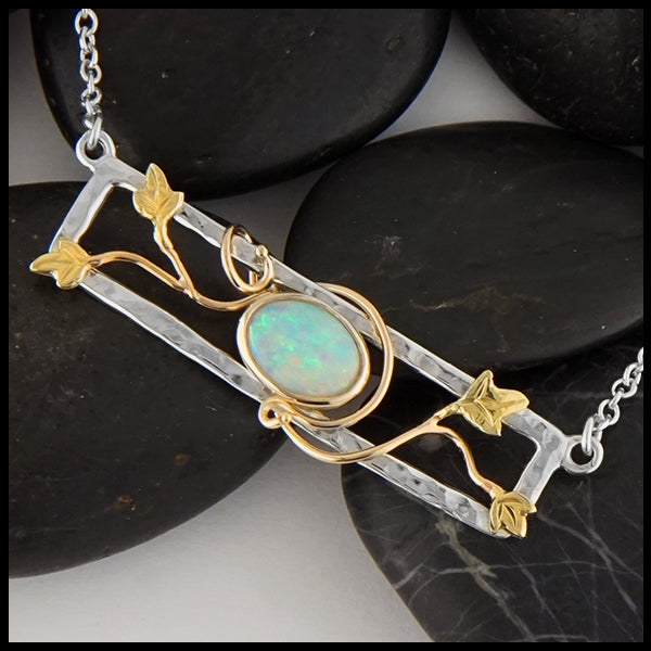 Opal and Gold Ivy Bar Necklace