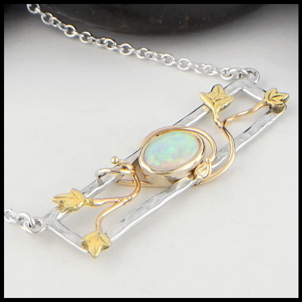 Profile view of Opal and Gold Ivy Bar Necklace