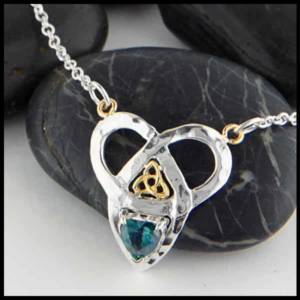 Trinity Knot and Heart Shaped Evergreen Topaz Necklace