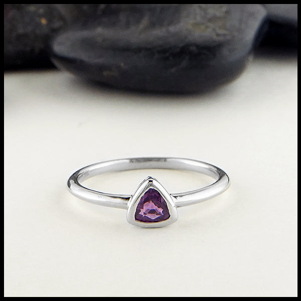 Trillion purple sapphire in white gold