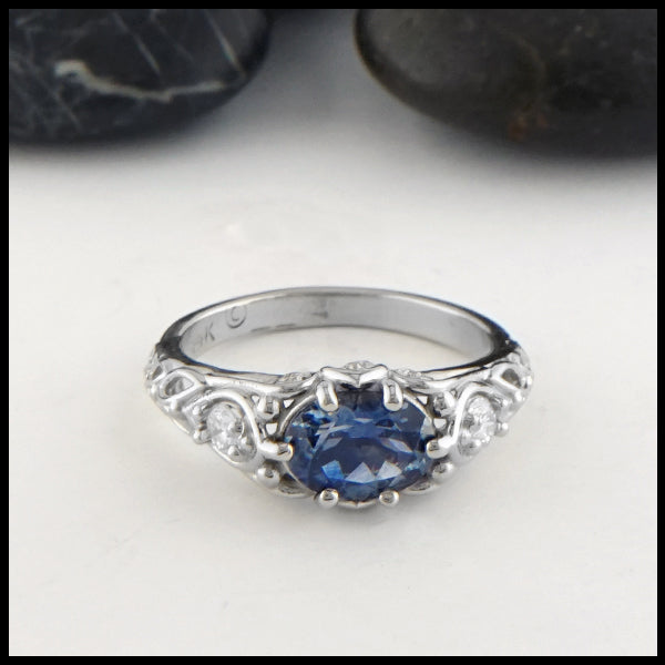 Montana Sapphire and Diamond Gold ring