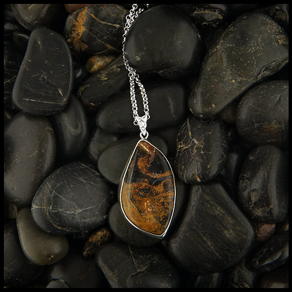 Pine Tree and Pietersite pendant in Sterling Silver