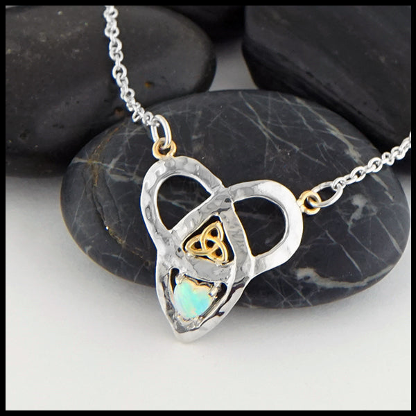 Trinity Knot and Heart Shaped Opal Necklace