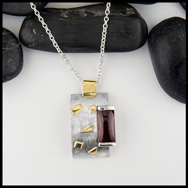 Overhead view Custom Garnet in Sterling Silver Pendant