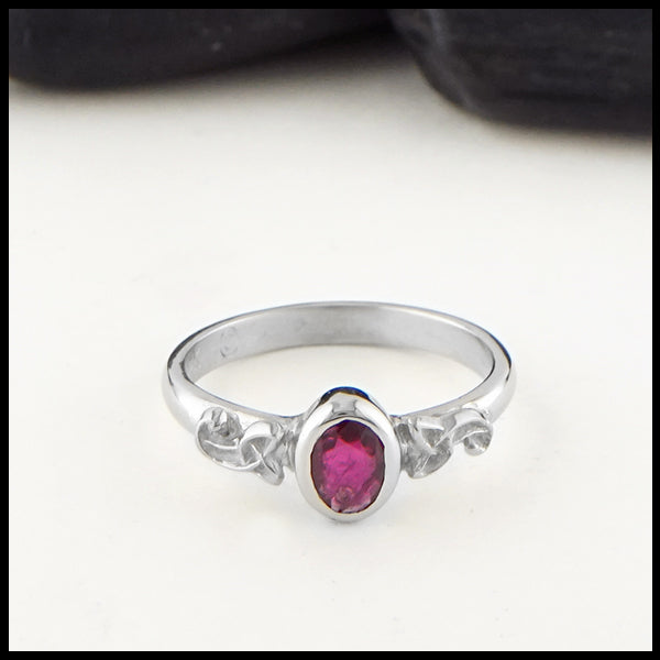 Celtic Knot Ring with Ruby