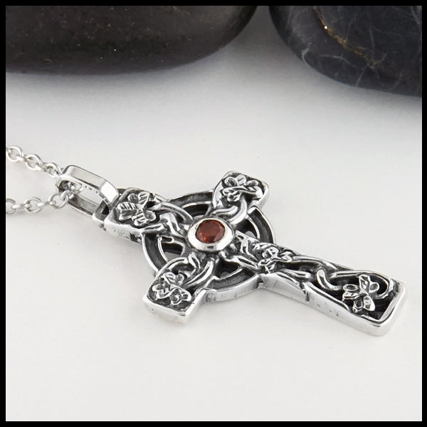 Profile view of Celtic Shamrock Cross with Gemstones