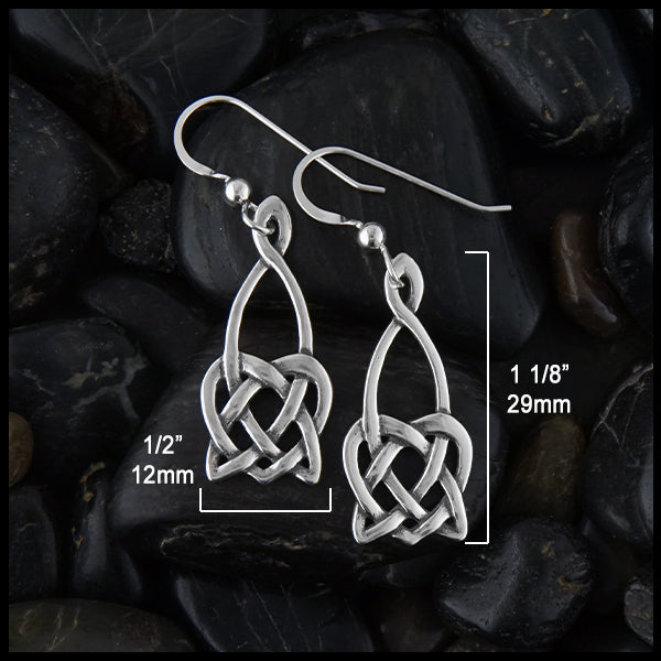 1/2 inch by 1 1/8 inches Open Heart Knot Drop Earrings