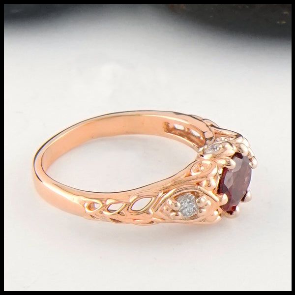 Profile view  of Rhodolite Garnet and Diamond Gold Ring