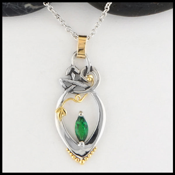 Overhead view of Chrome Tourmaline Lily Pendant