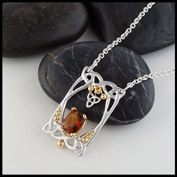 Profile view Citrine and Trinity Knot Pendant