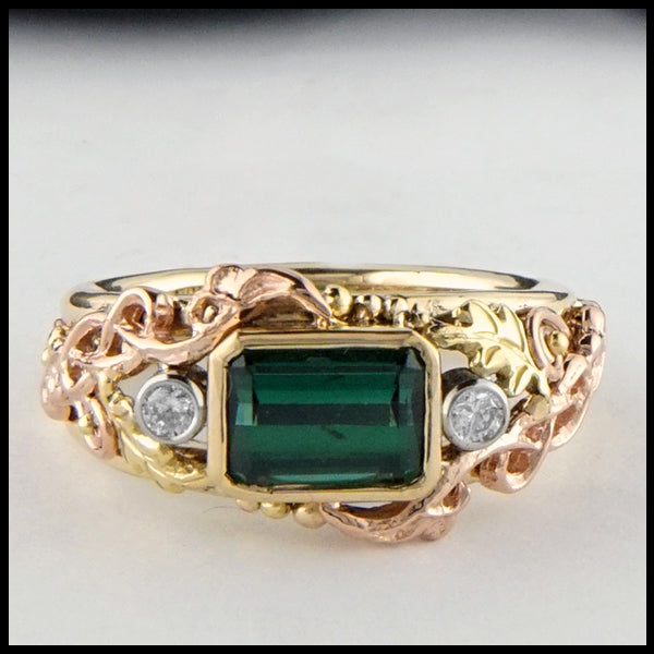 Front view of Green Tourmaline and Diamond Gold Custom Ring