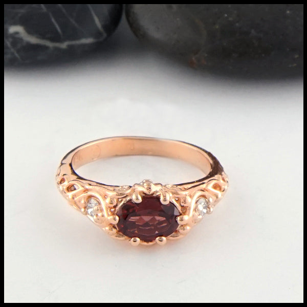 Front view of Rhodolite Garnet and Diamond Gold Ring