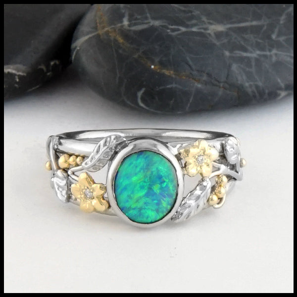 Front view of Floral Black Opal Gold Ring