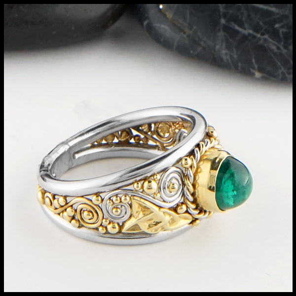 Two Tone Emerald Ring