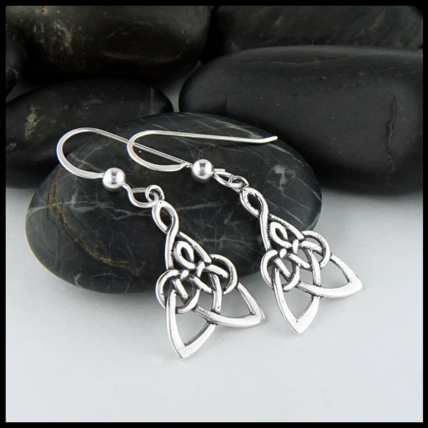 Profile view of Modified Mother's Knot Drop Earrings