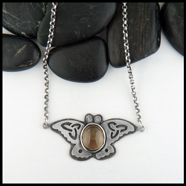 Celtic Moth Pendant in Sterling Silver
