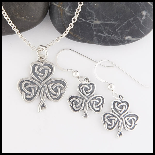 Celtic Shamrock Heart Knot Pendant and Earrings Set