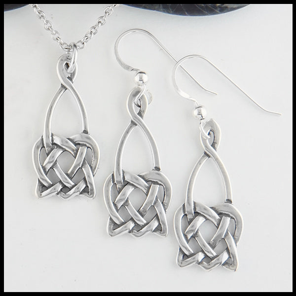 Open Heart Knot Drop Earrings and Pendant Set