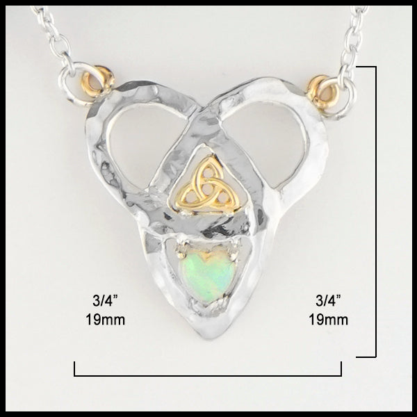 3/4 by 3/4 inches Trinity Knot and Heart Shaped Opal Necklace