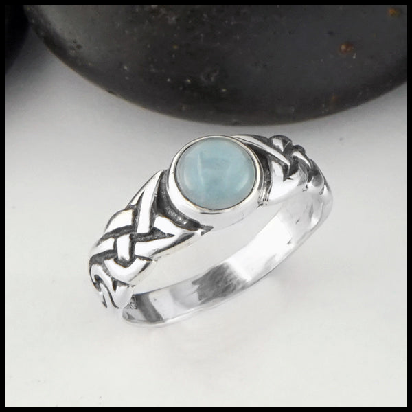 Ban Tigherna Celtic Ring with Aquamarine