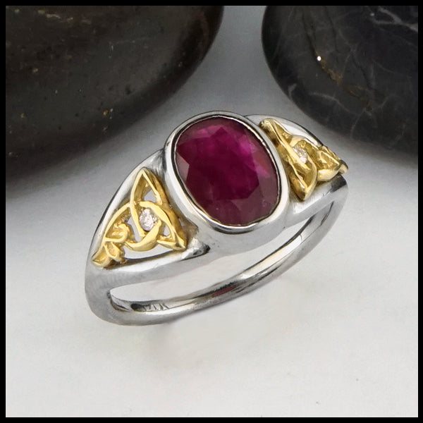 Ruby and Diamond Celtic Knot Ring