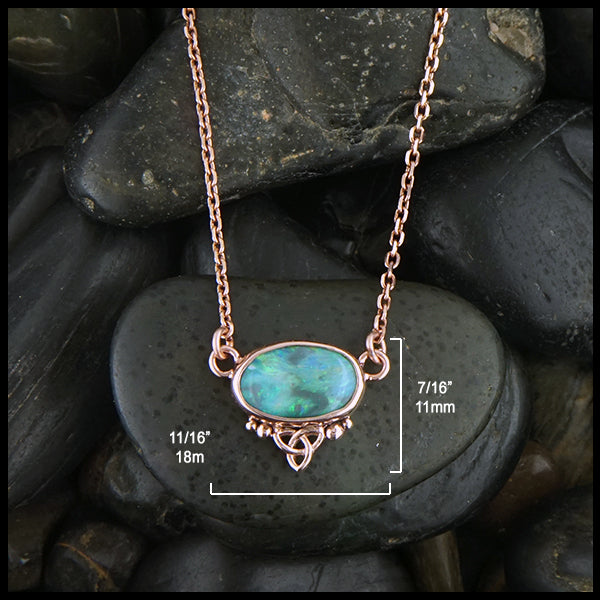 11/16 by 7/16 inches black opal choker necklace in rose gold