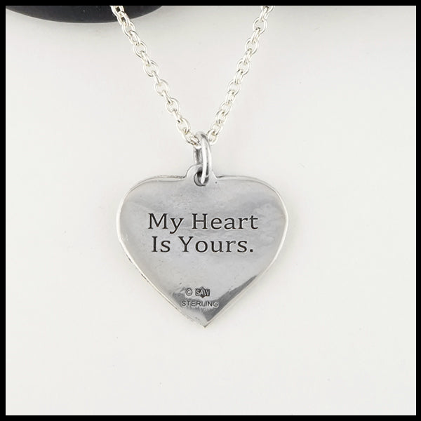 """My heart is yours."" Personalized Jeannie Heart Pendant"