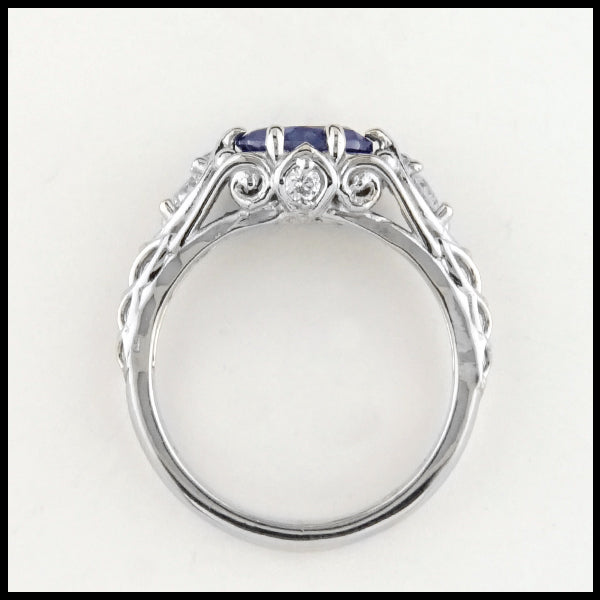Above view of Montana Sapphire and Diamond Gold ring