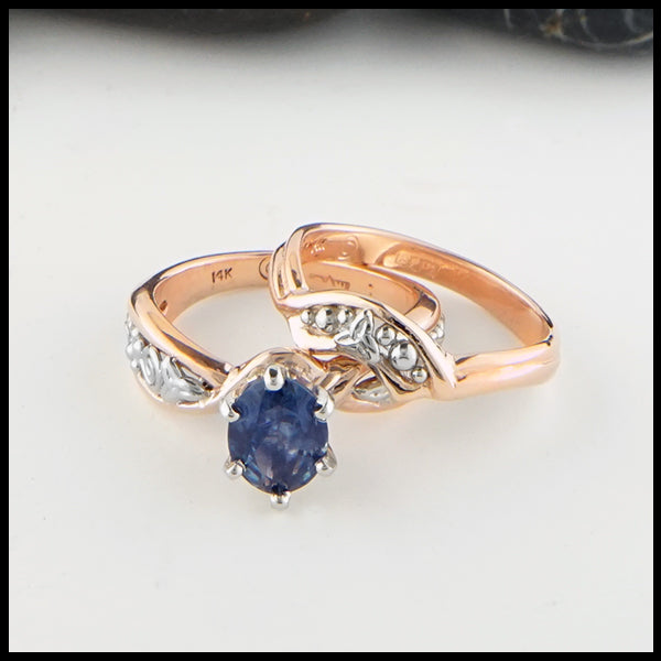 Montana Sapphire and Trinity Knot Ring Set