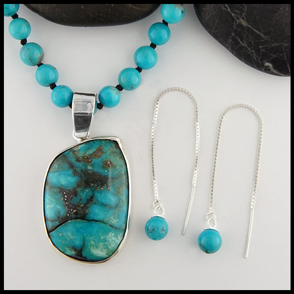 Turquoise Beaded Necklace and Threader Earring Set